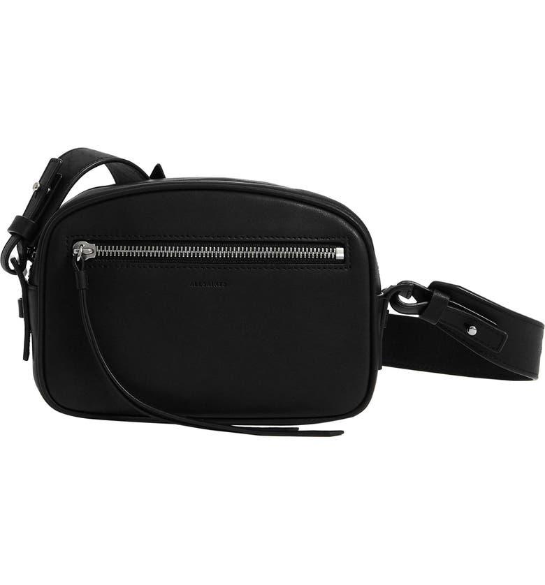 ALLSAINTS Captain Leather Belt Bag, Main, color, BLACK