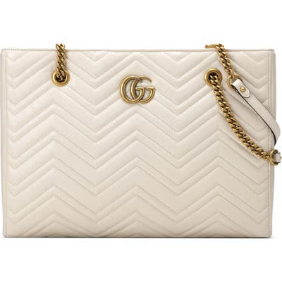 Gucci Gg Marmont 2.0 Matelasse Medium Leather East/west Tote Bag - White