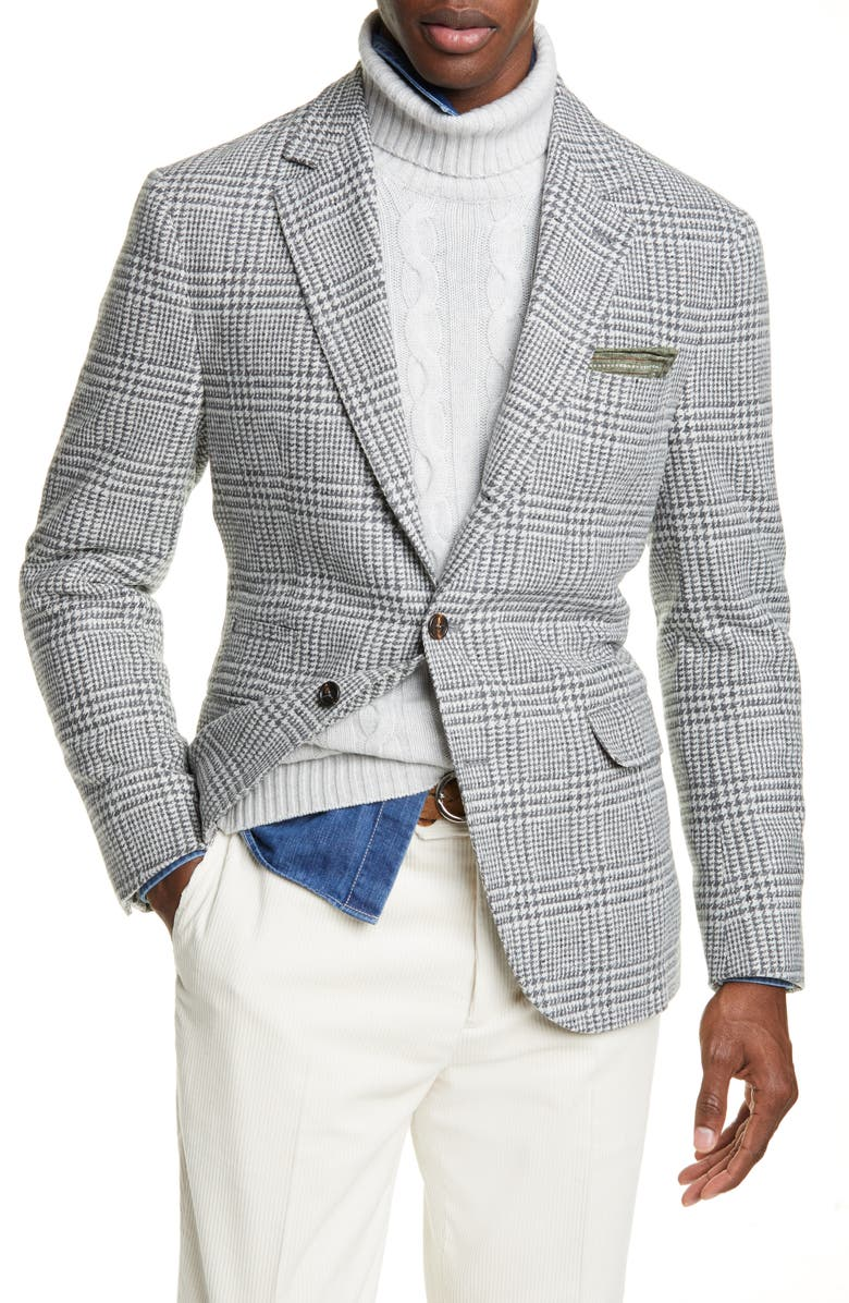 BRUNELLO CUCINELLI Plaid Wool & Cashmere Sport Coat, Main, color, LIGHT GREY