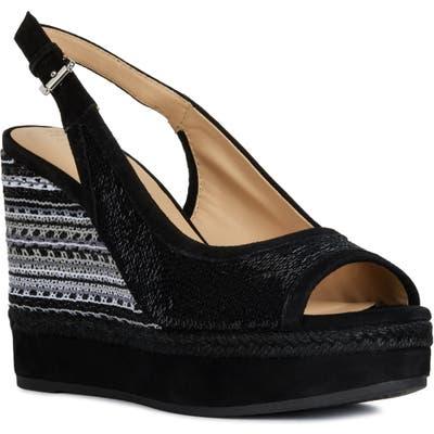 Geox Yulimar Wedge Sandal, Black