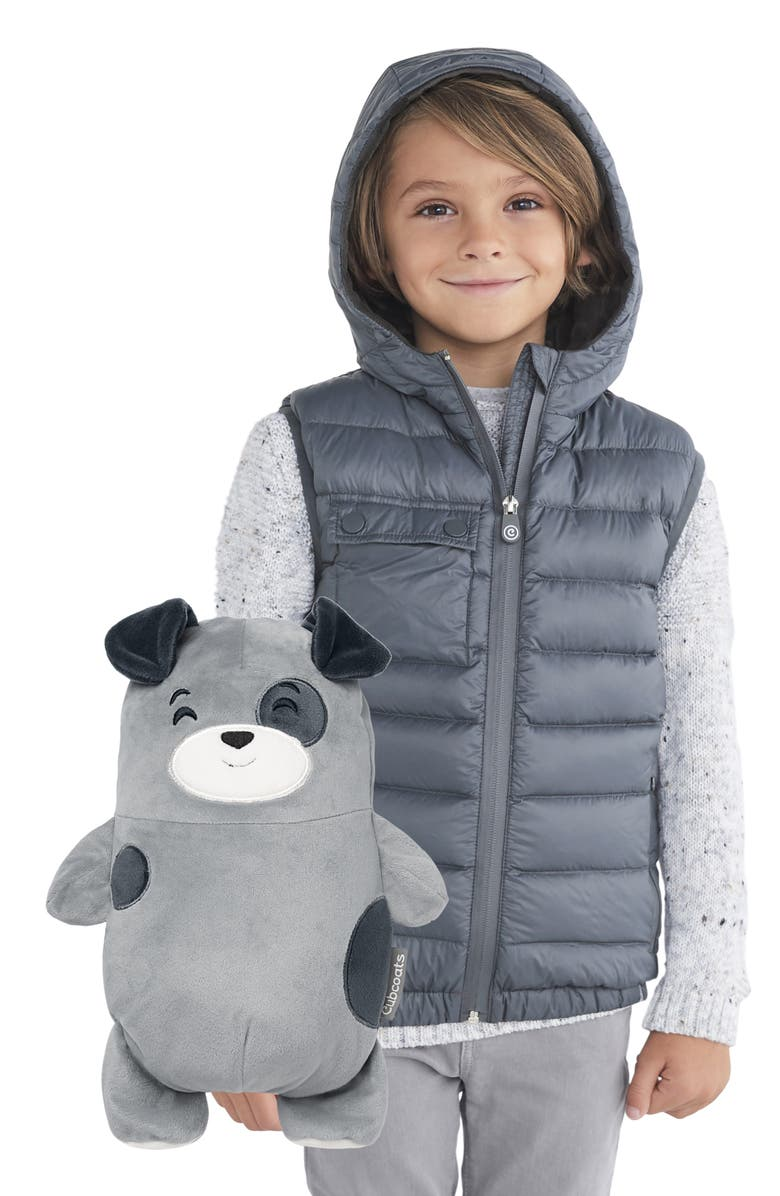 CUBCOATS Pimm 2-in-1 Stuffed Animal & Hooded Down Vest, Main, color, GREY MARL MIX