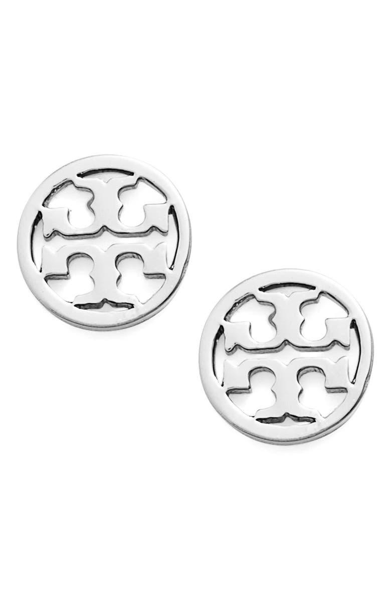 TORY BURCH Circle Logo Stud Earrings, Main, color, SILVER