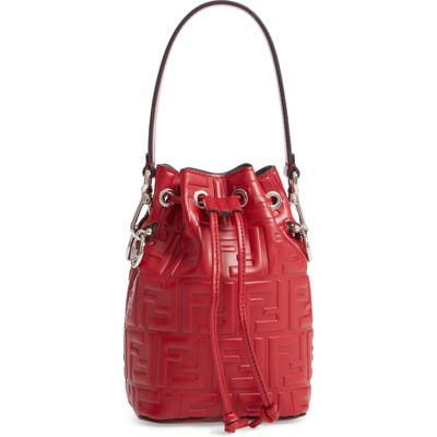 Fendi Mini Mon Tresor Logo Leather Bucket Bag -