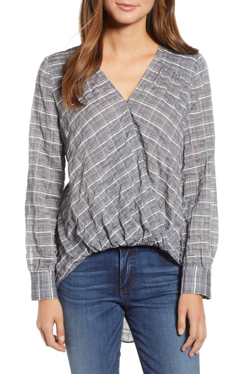 CASLON<SUP>®</SUP> Faux Wrap Cotton Top, Main, color, 021