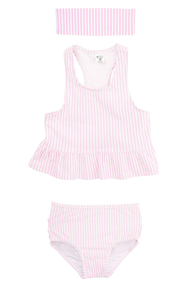 RUFFLEBUTTS Two-Piece Swimsuit & Headband Set, Main, color, PINK
