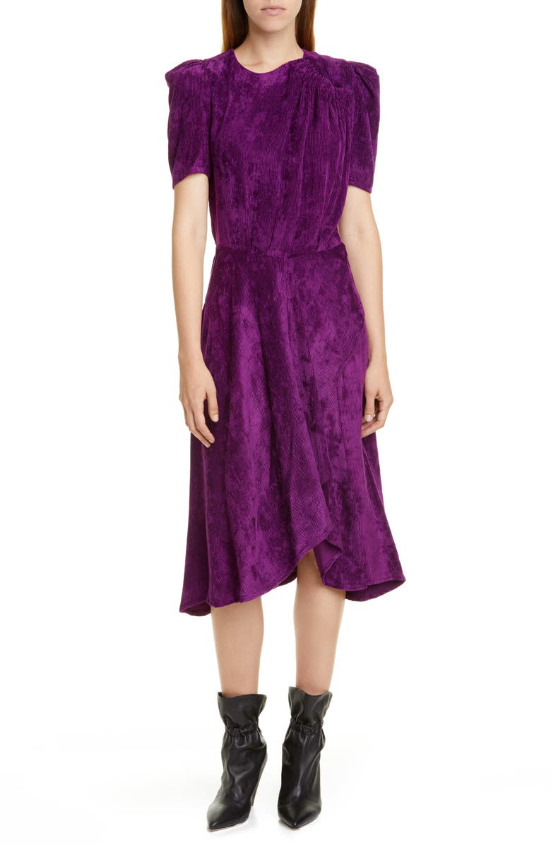 ISABEL MARANT Puff Sleeve Corduroy Dress, Main, color, FUCHSIA