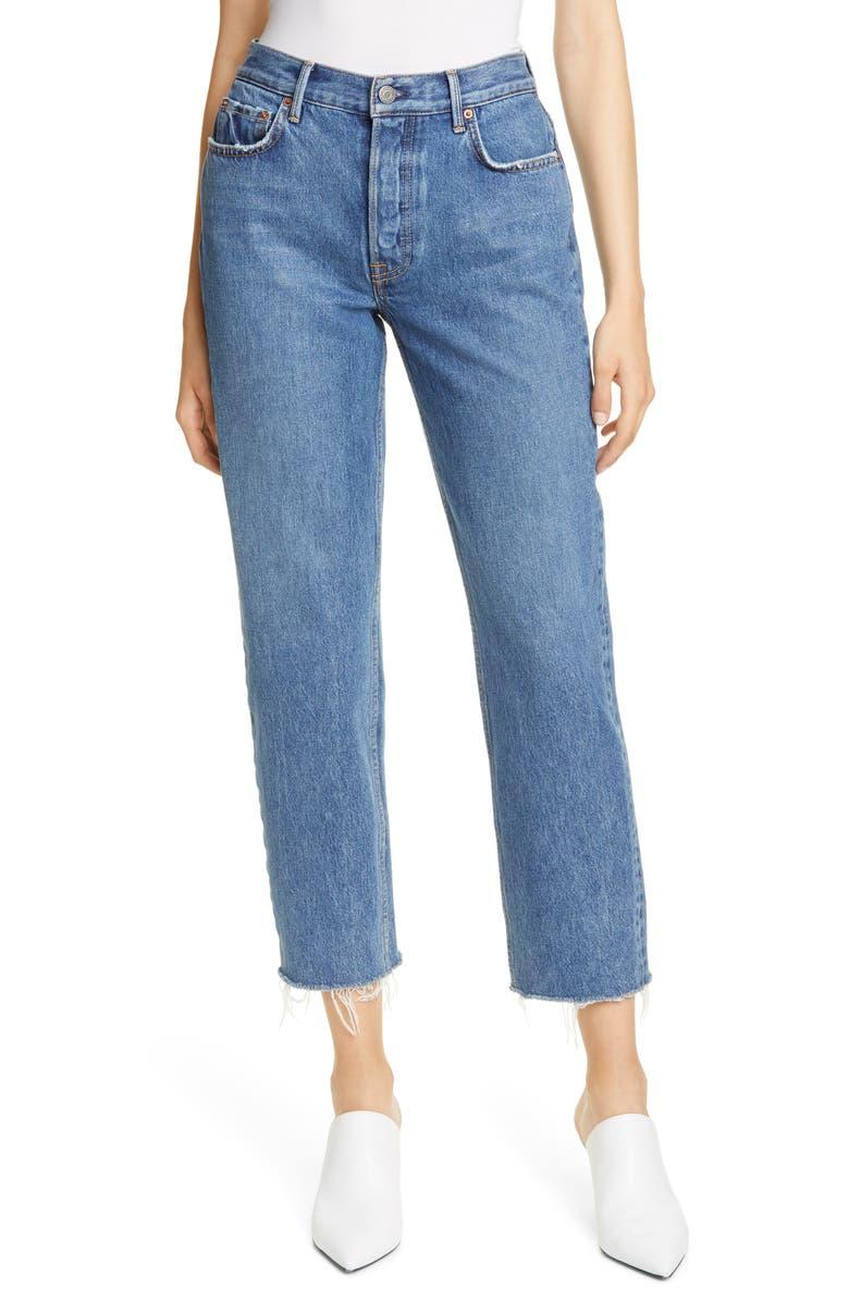 GRLFRND Helena High Waist Crop Straight Jeans, Main, color, BANDERA
