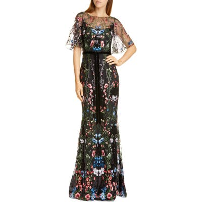 Marchesa Notte Floral Tulle Overlay Trumpet Gown, Black