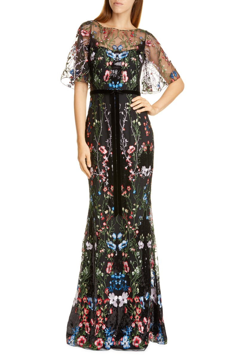 MARCHESA NOTTE Floral Tulle Overlay Trumpet Gown, Main, color, BLACK