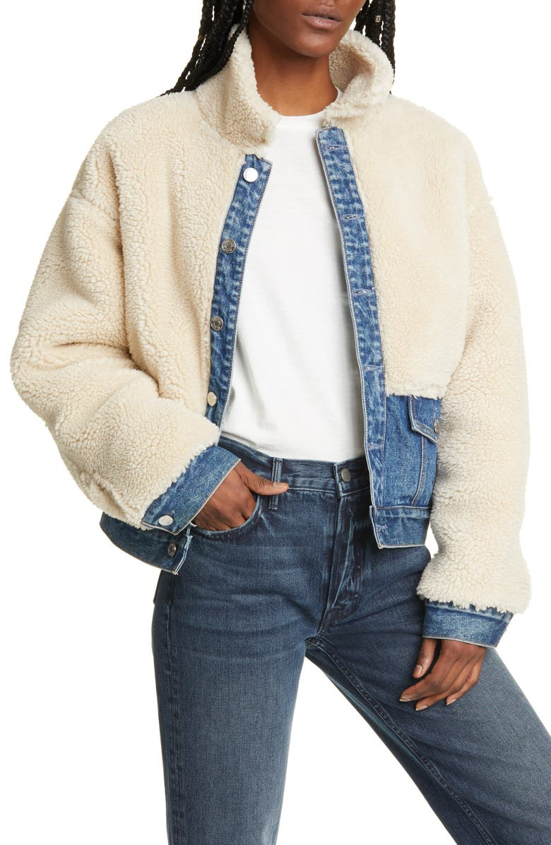 GRLFRND Miya Faux Fur & Denim Jacket, Main, color, 250