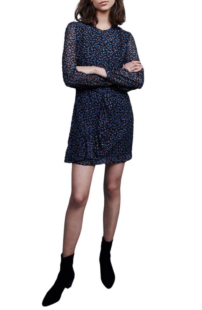 MAJE Revano Long Sleeve Minidress, Main, color, BLACK