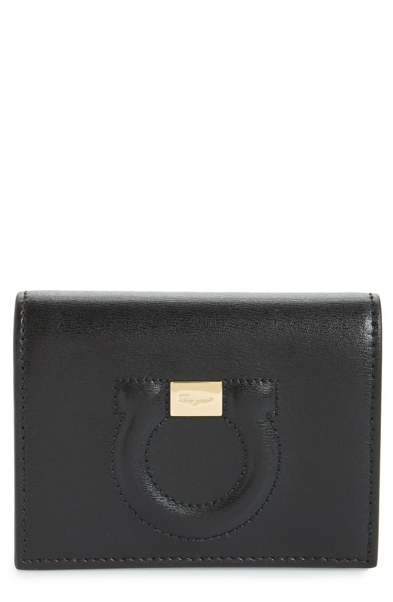 SALVATORE FERRAGAMO City Quilted Gancio Leather Wallet, Main, color, BLACK
