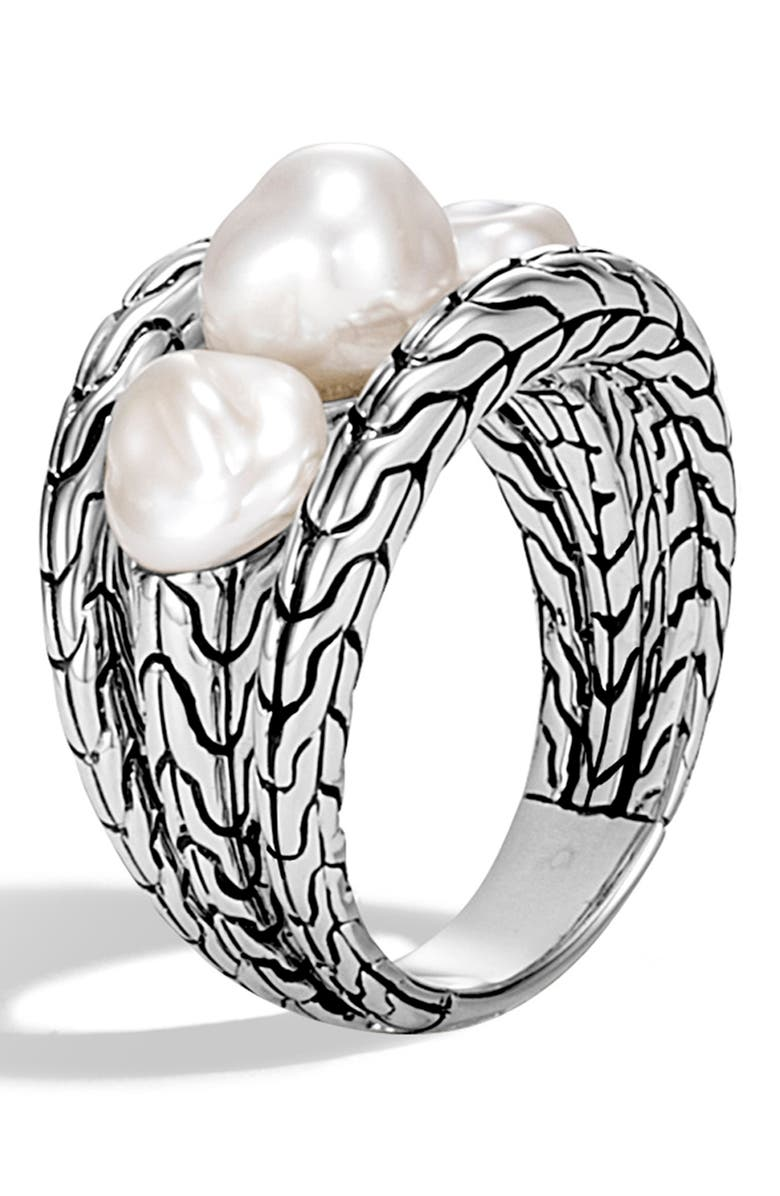 JOHN HARDY Classic Chain Pearl Ring, Main, color, SILVER/ PEARL