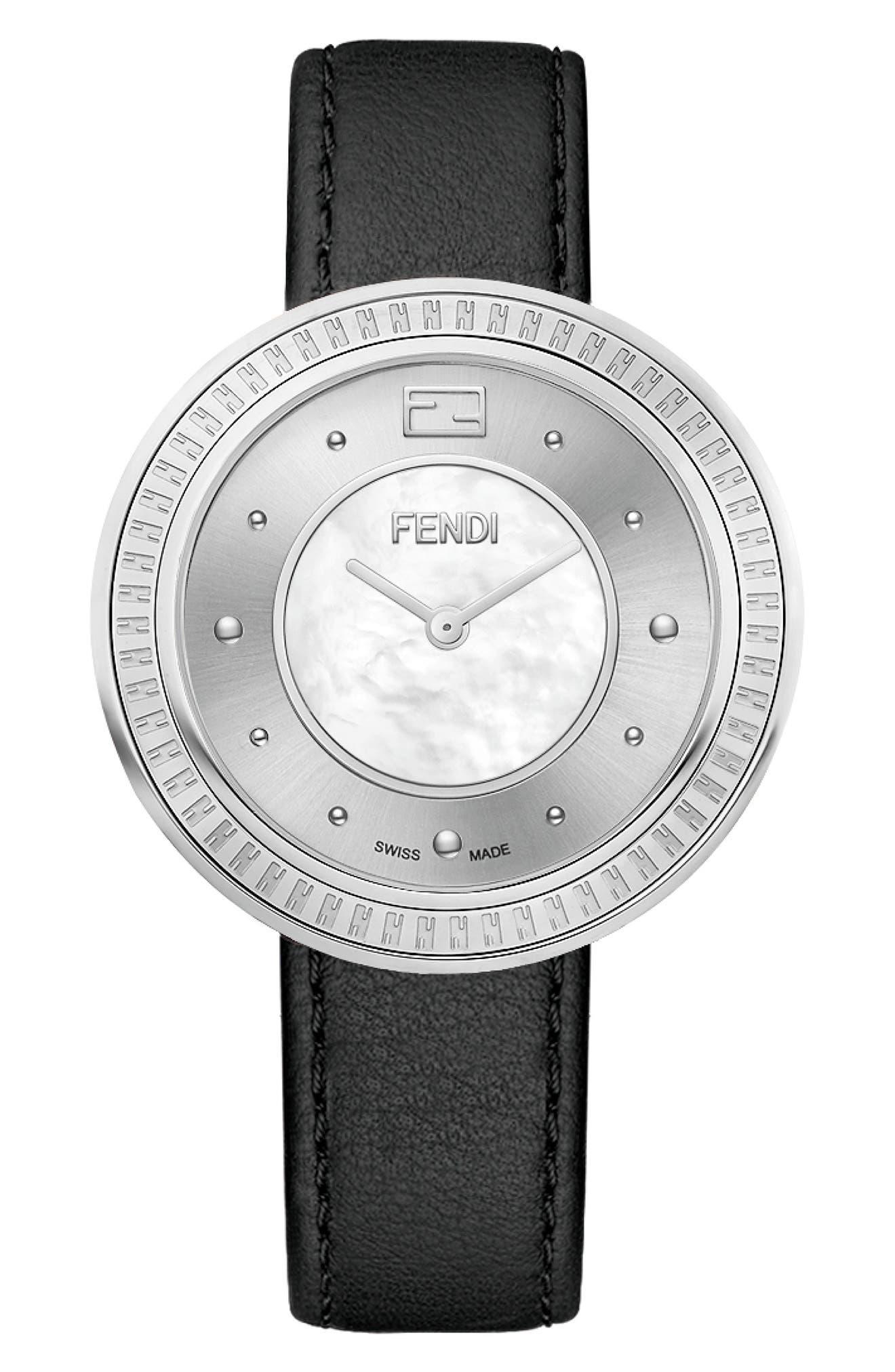 Image of FENDI Women's My Way Genuine Fox Fur Leather Strap Watch, 36mm
