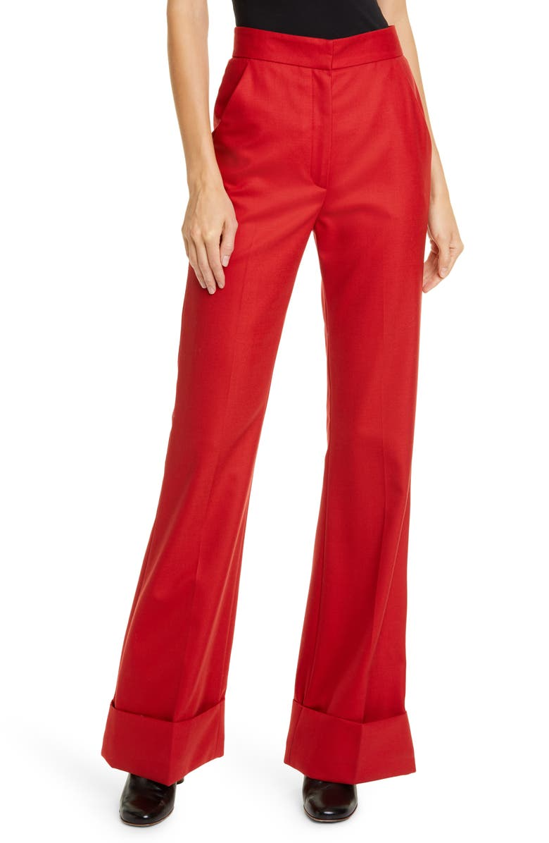 SMYTHE High Waist Flare Trousers, Main, color, BRICK