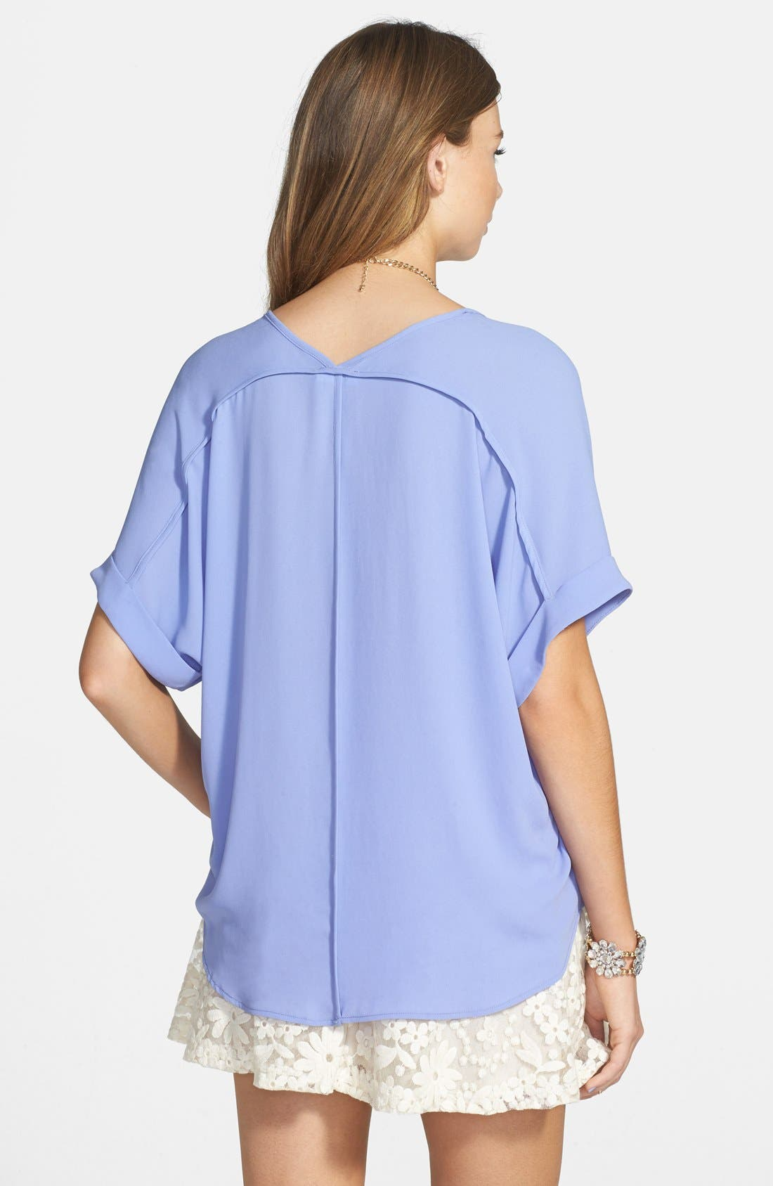 ,                             Lush Cuff Sleeve Woven Tee,                             Alternate thumbnail 140, color,                             519