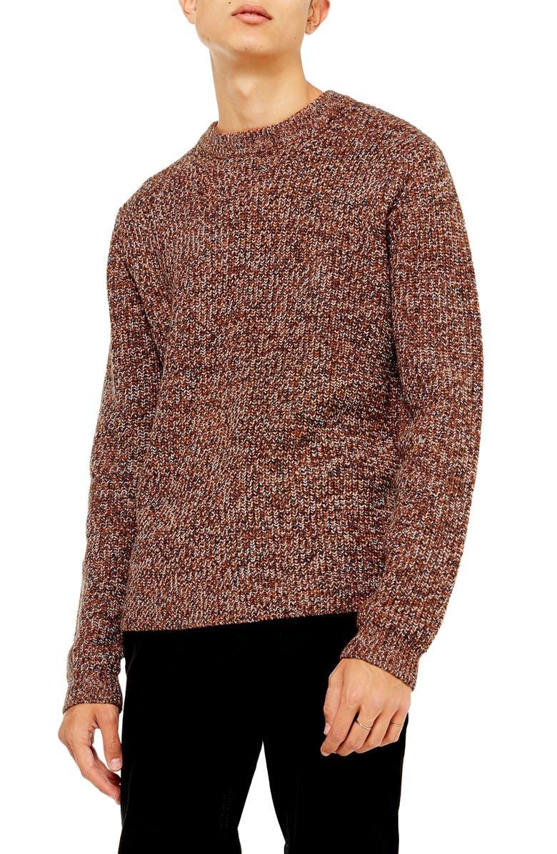 TOPMAN Twist Crewneck Sweater, Main, color, BROWN