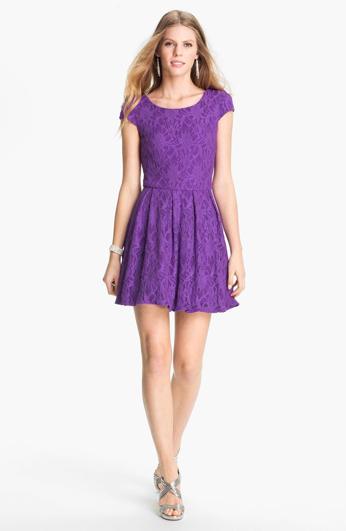 Lace Fit & Flare Dress, Main, color, 500
