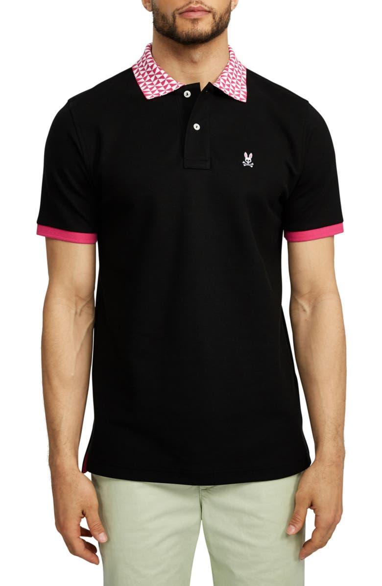 PSYCHO BUNNY Lumley Short Sleeve Polo, Main, color, 001