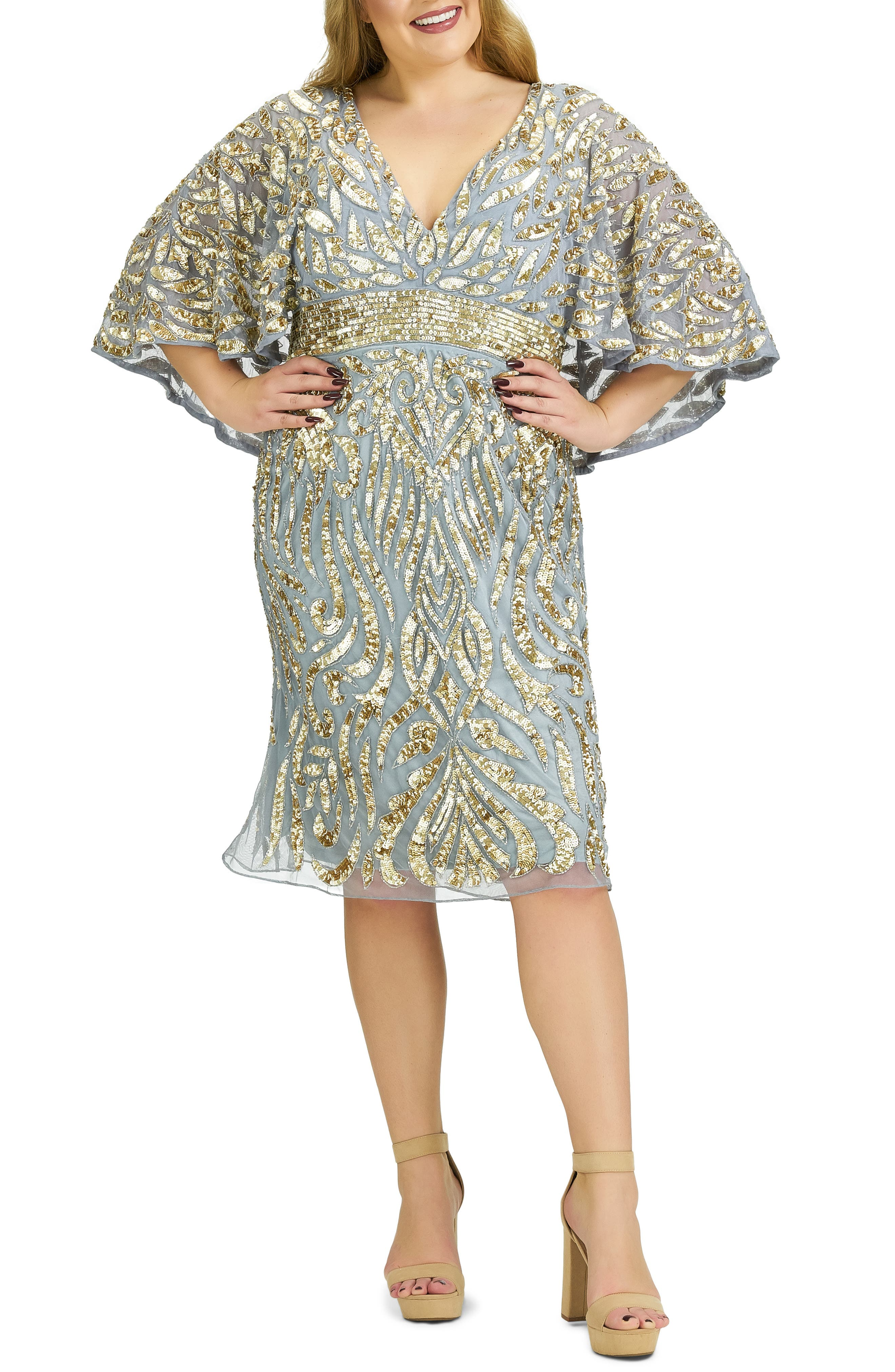 70s Prom, Formal, Evening, Party Dresses Plus Size Womens MAC Duggal Sequin Capelet Cocktail Dress $398.00 AT vintagedancer.com