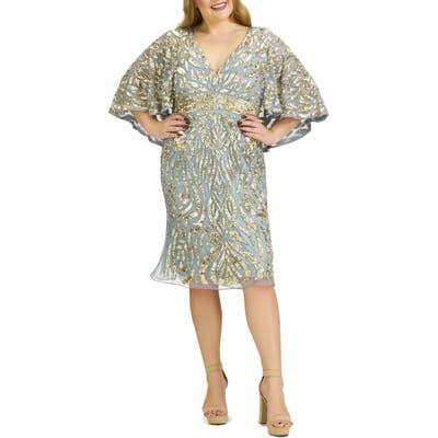 Plus Size MAC Duggal Sequin Capelet Cocktail Dress, Metallic