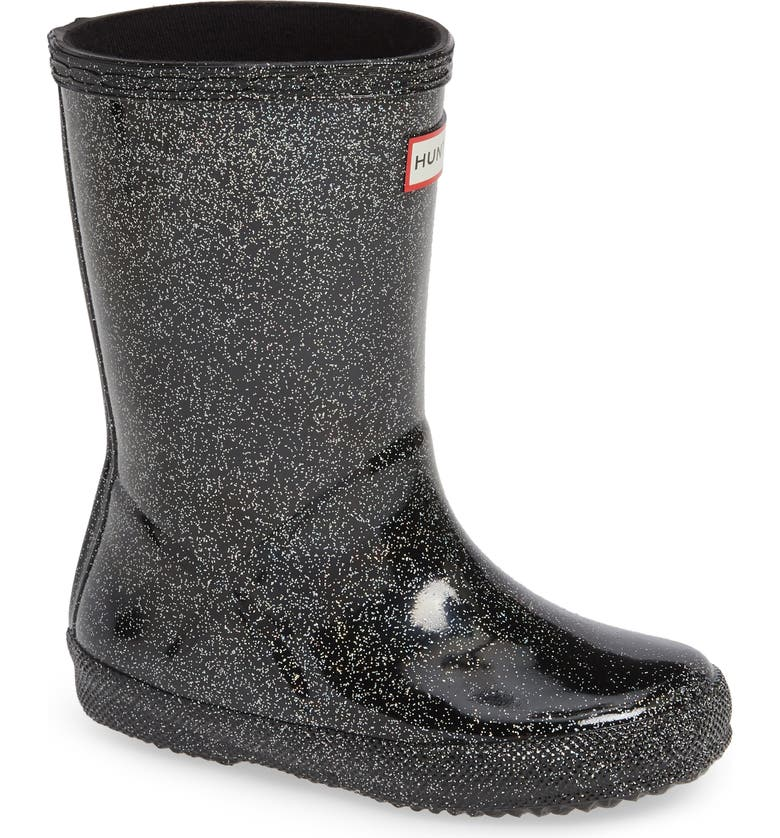 HUNTER Kids First Classic Starcloud Glitter Rain Boot, Main, color, BLACK MULTI
