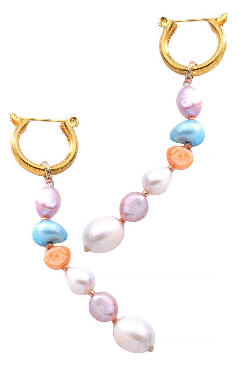 NAKAMOL CHICAGO Freshwater Pearl Linear Drop Earrings, Main, color, WHITE PEARL MIX