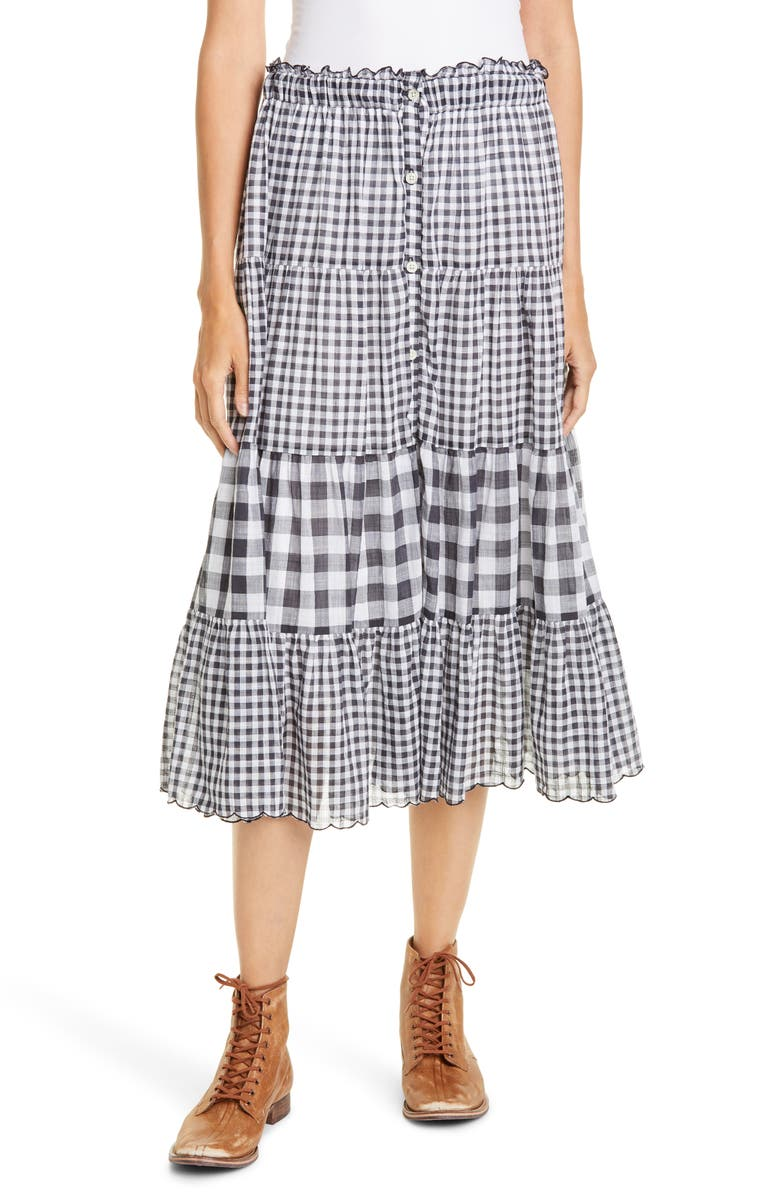 THE GREAT. The Button-Up Tiered Skirt, Main, color, BLUE BLACK CHECK MIX