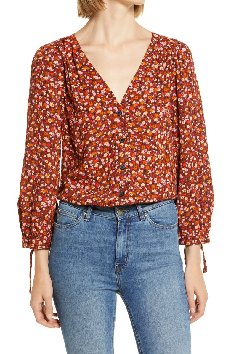 MADEWELL Spring Prairie Tie Sleeve Button Front Top, Main, color, SPRING FLORAL RUSTED BURGUNDY