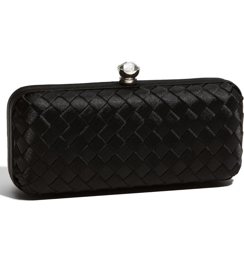 EXPRESSIONS NYC Woven Satin Minaudiere Clutch, Main, color, 001