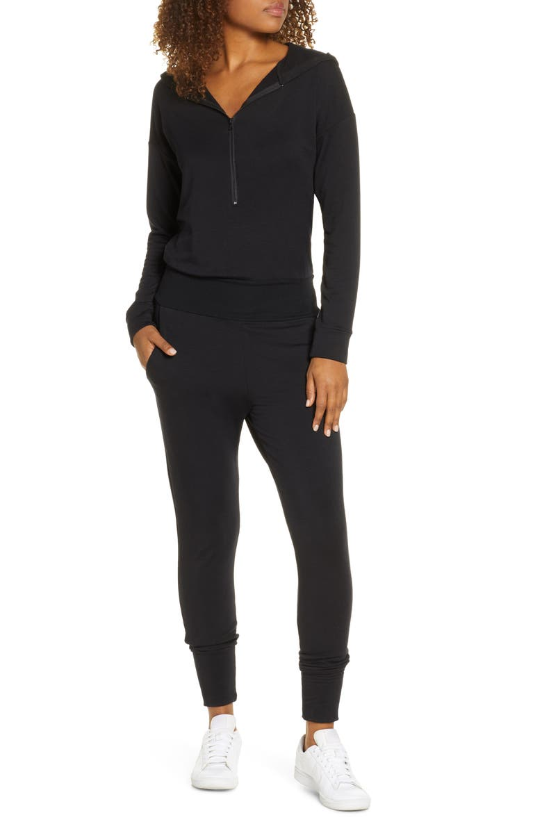 BEYOND YOGA On My Way Hooded Jumpsuit, Main, color, BLACK