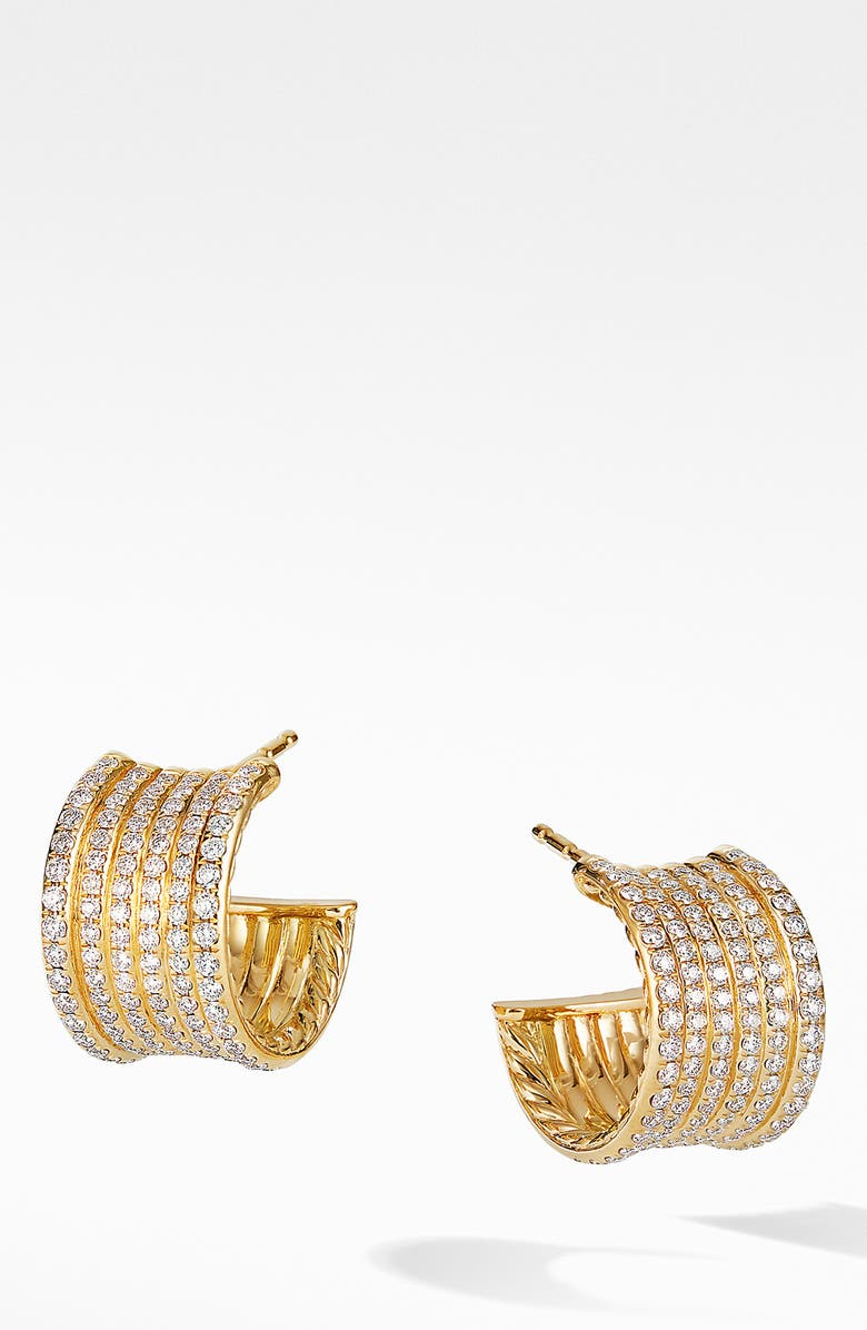 DAVID YURMAN Origami Cable Huggie Hoops in 18K Yellow Gold and Full Pavé, Main, color, YELLOW GOLD/ DIAMOND