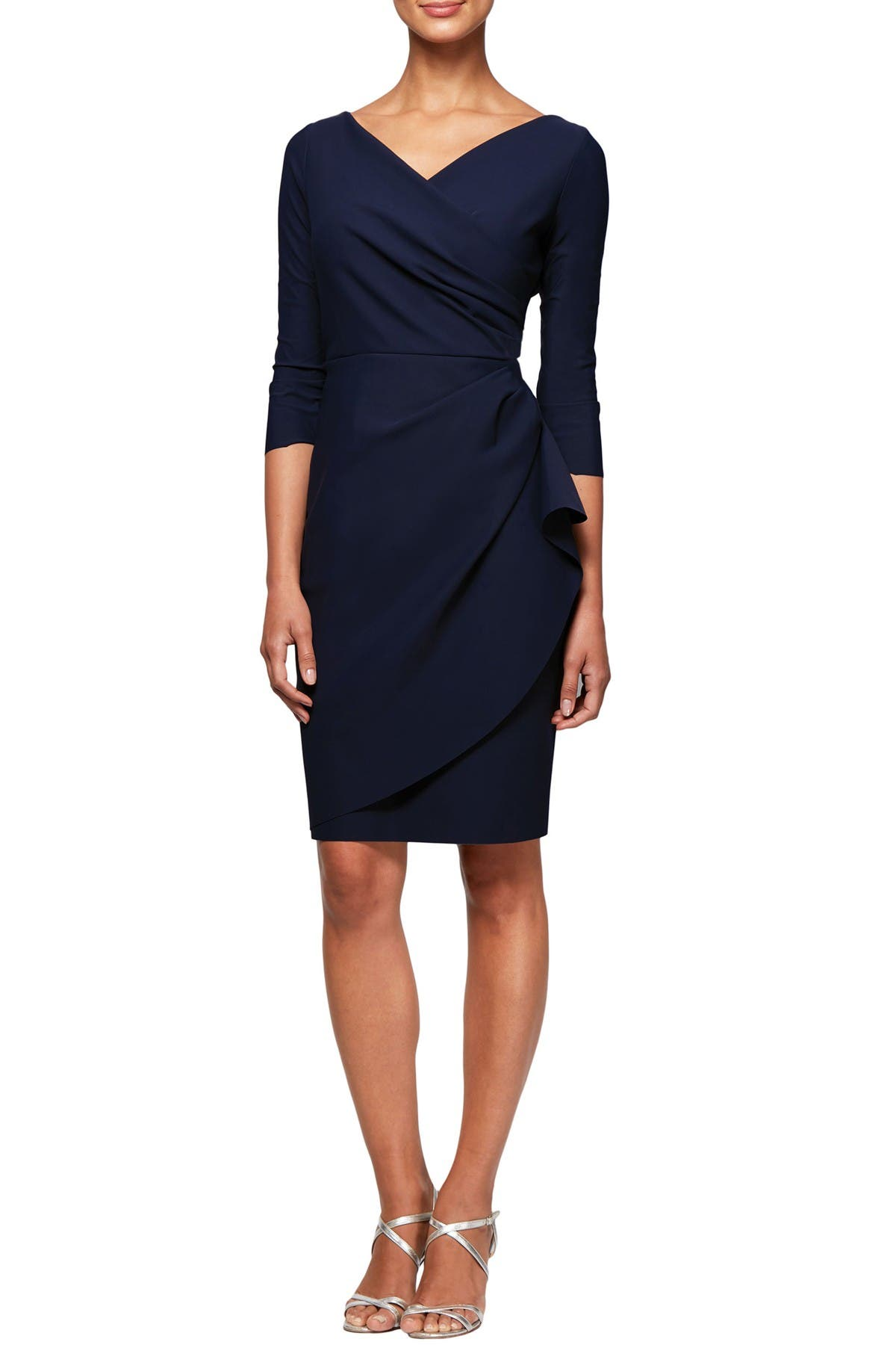 Image of Alex Evenings Surplice Ruffle Sheath Dress