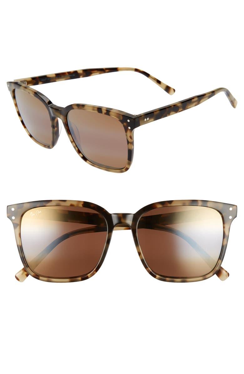 MAUI JIM Westside 54mm PolarizedPlus2<sup>®</sup> Square Sunglasses, Main, color, OLIVE TORTOISE/ HCL BRONZE