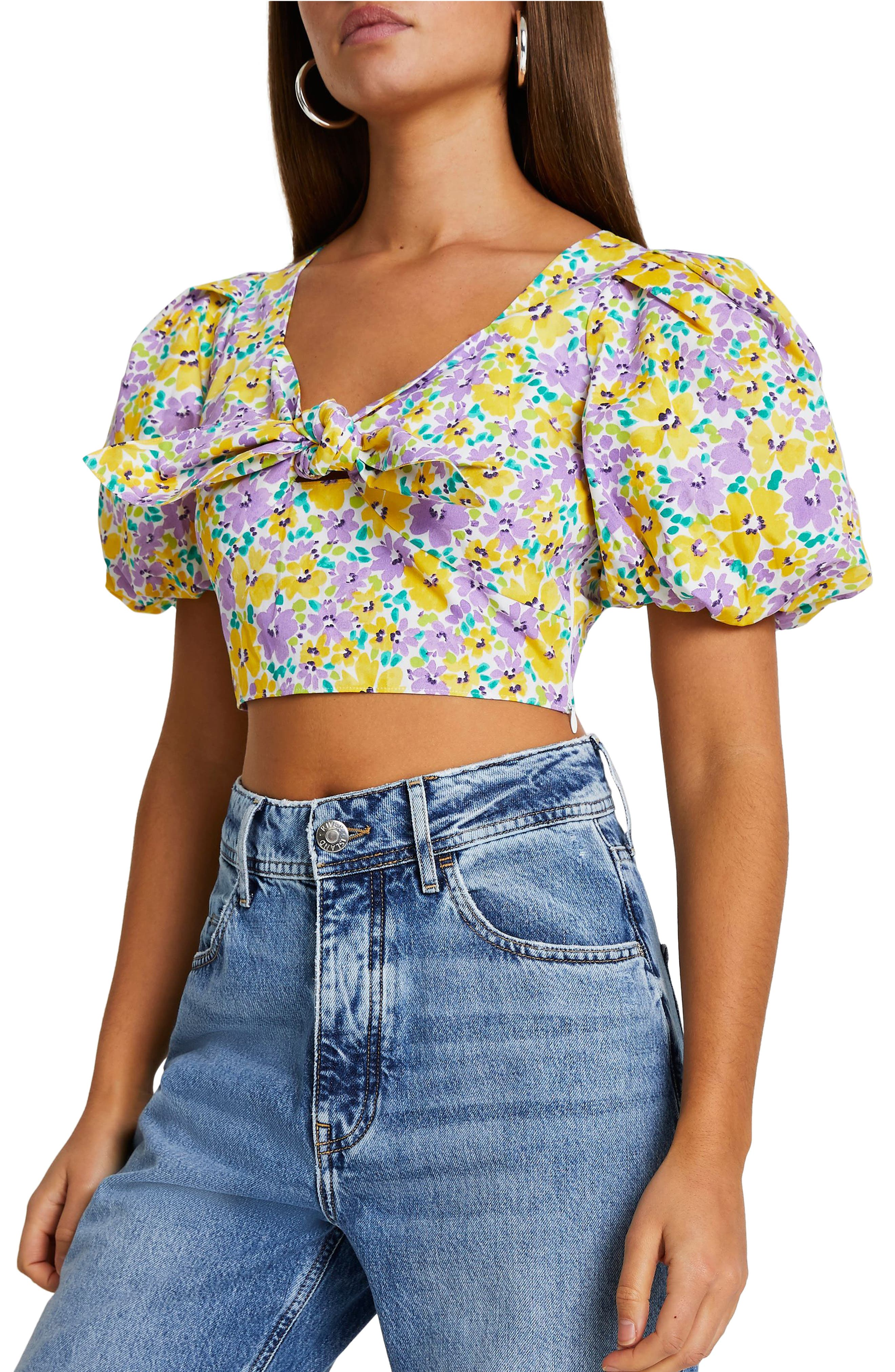 1940s Blouses and Tops Womens River Island Floral Print Puff Sleeve Crop Top Size 12 US - Purple $68.00 AT vintagedancer.com
