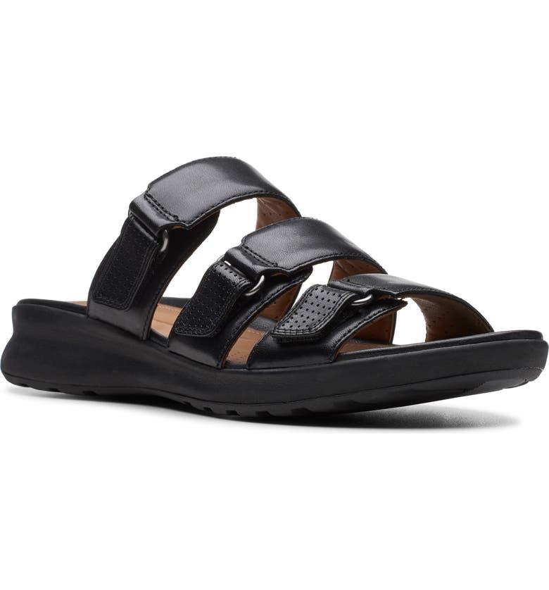 CLARKS<SUP>®</SUP> UnAdorn Lane Slide Sandal, Main, color, BLACK LEATHER