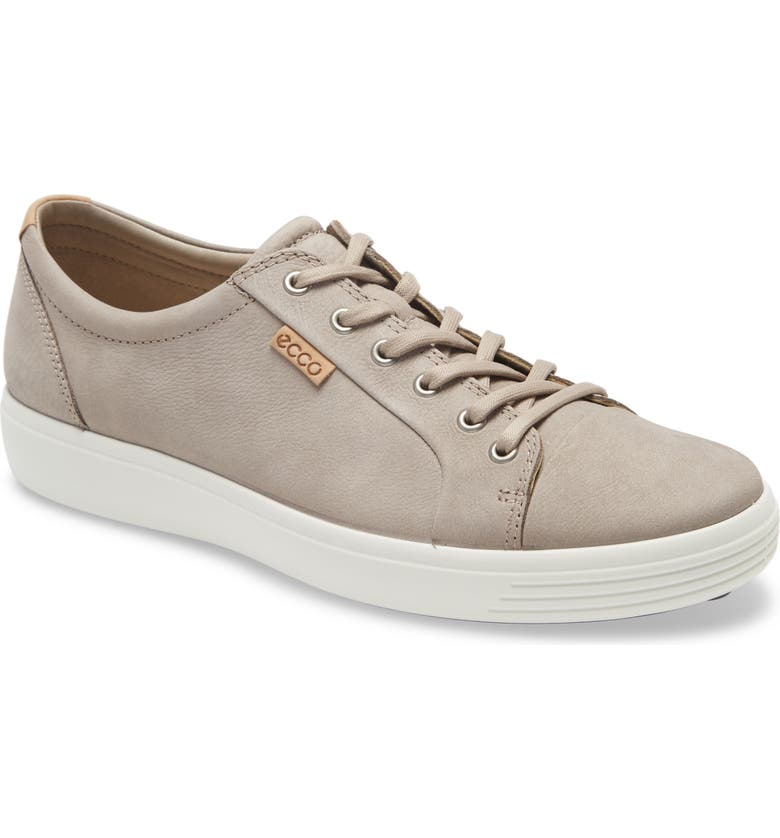 ECCO Soft VII Lace-Up Sneaker, Main, color, WARM GREY/ POWDER NEW