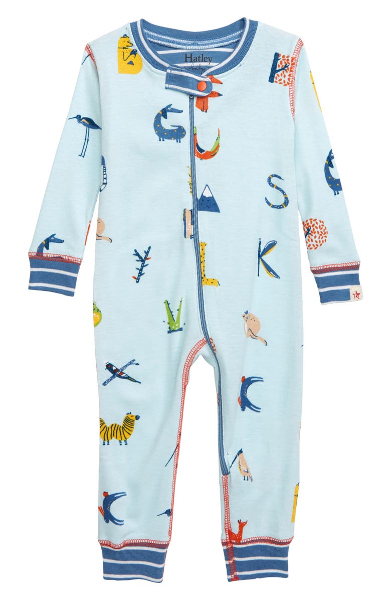 HATLEY Alphabet Animals Organic Cotton Fitted One-Piece Pajamas, Main, color, 400