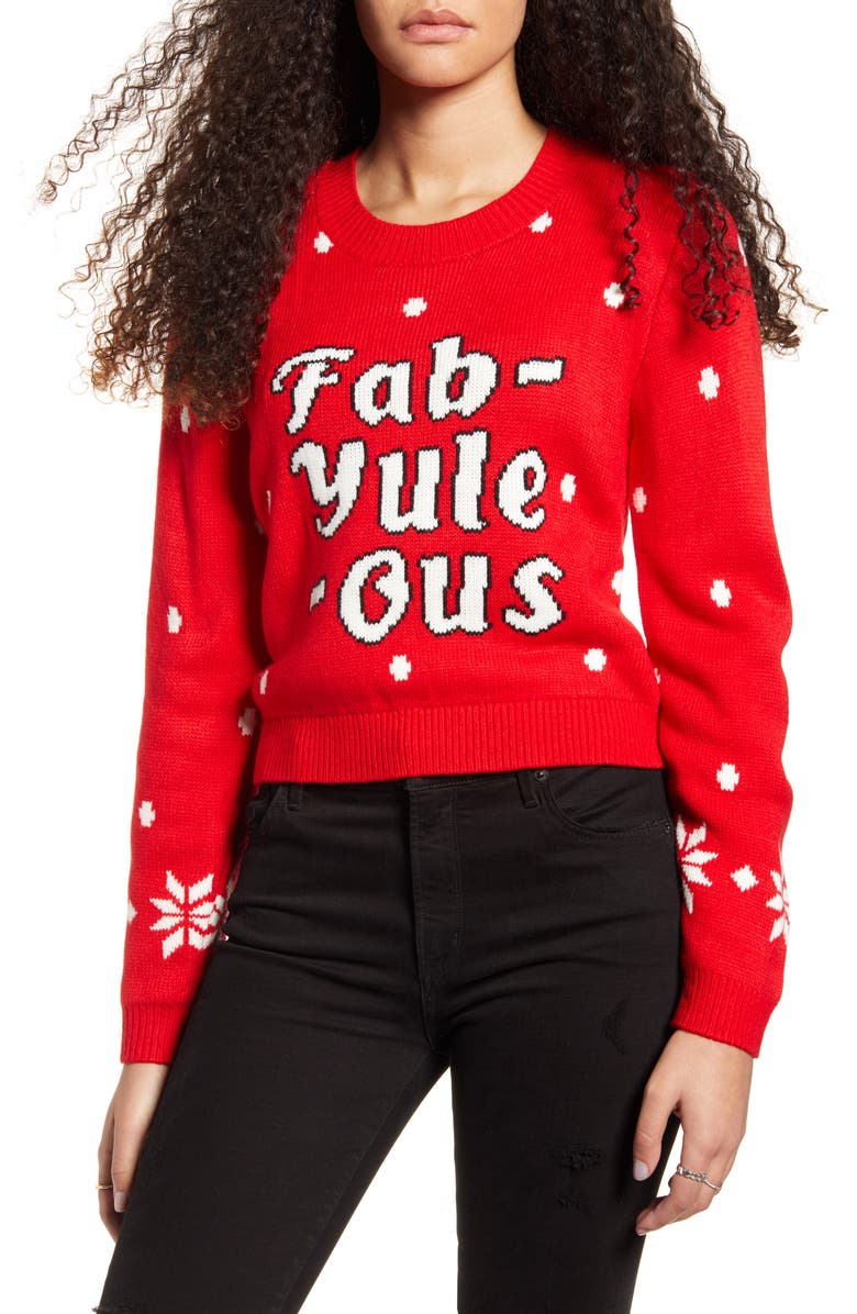 MINKPINK Fab-Yule-Ous Holiday Sweater, Main, color, RED/ WHITE