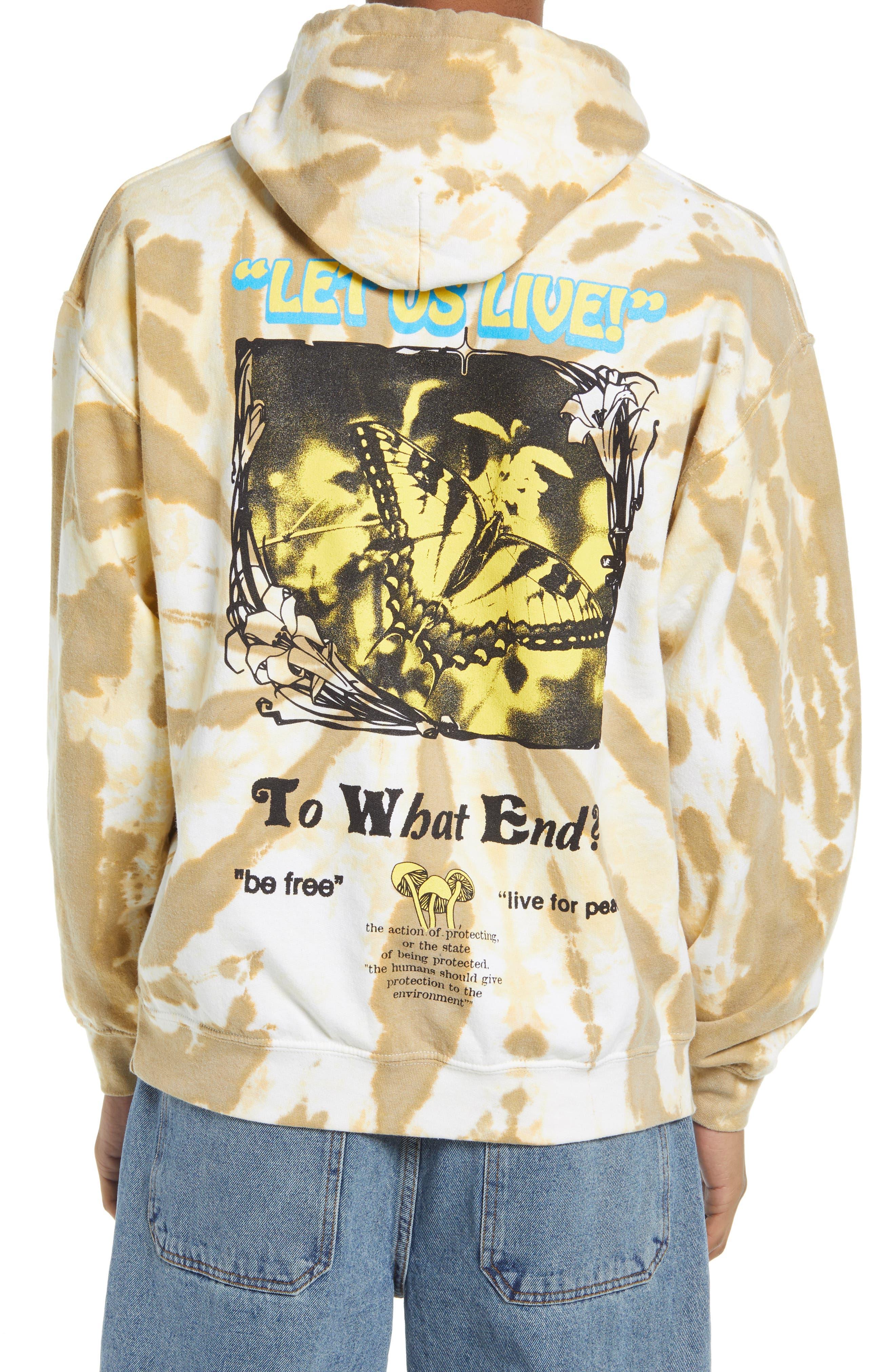 Men's Let Us Live Tie Dye Print Hoodie