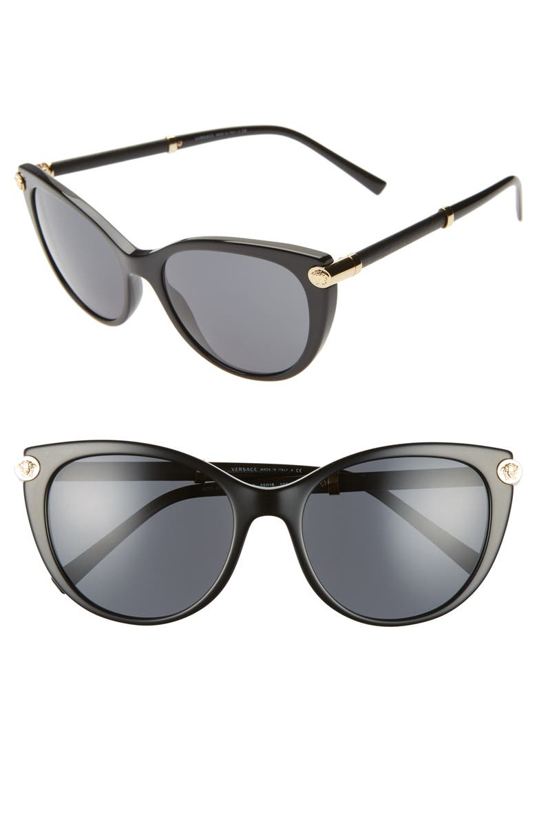 VERSACE 55mm Cat Eye Sunglasses, Main, color, BLACK SOLID