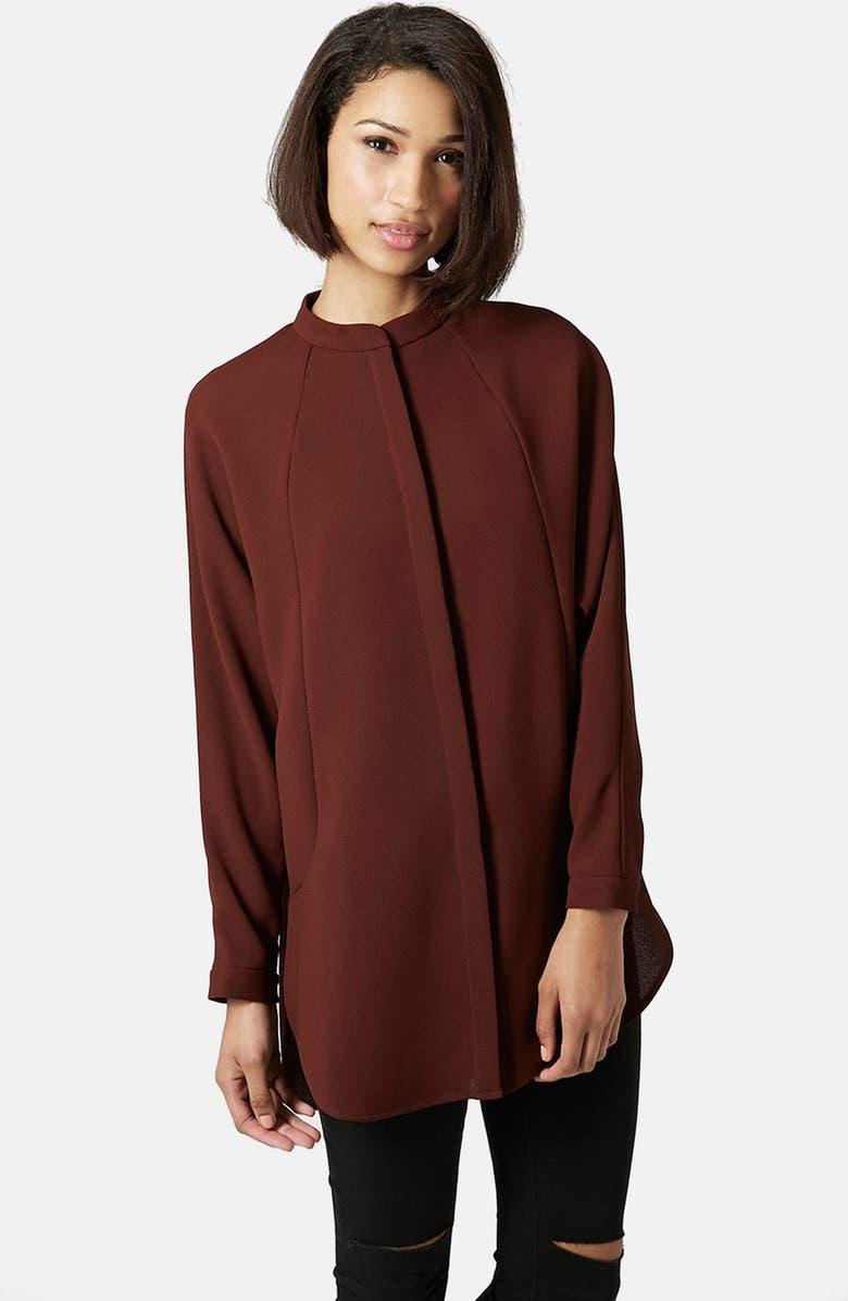 TOPSHOP Band Collar Shirt, Main, color, 930
