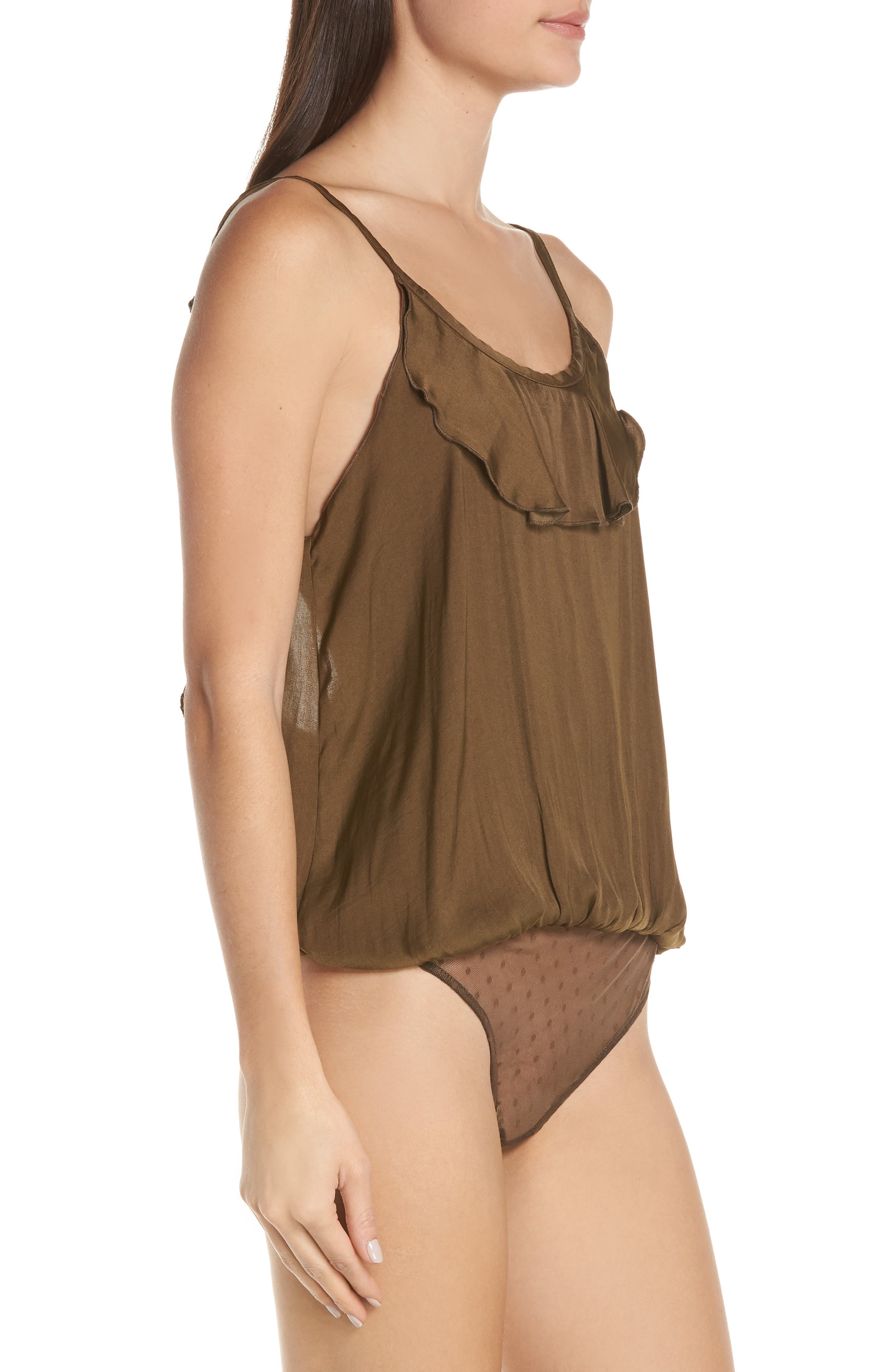 FREE PEOPLE  MED  Not Tired Ruffled Bodysuit Black NewWTags