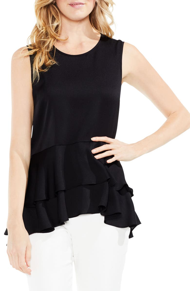 ab0886dcff4a23 Vince Camuto Sleeveless Tiered Ruffle Hem Satin Blouse | Nordstrom