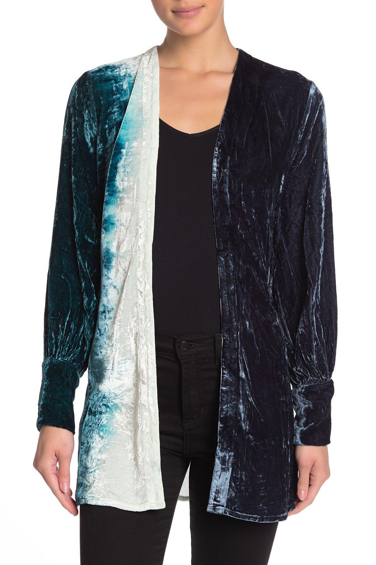 Image of Chaser Bishop Sleeve Belted Velvet Kimono