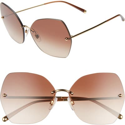 Dolce & gabbana Lucia Mirrored Oversize Butterfly Sunglasses - Gold/ Brown Gradient