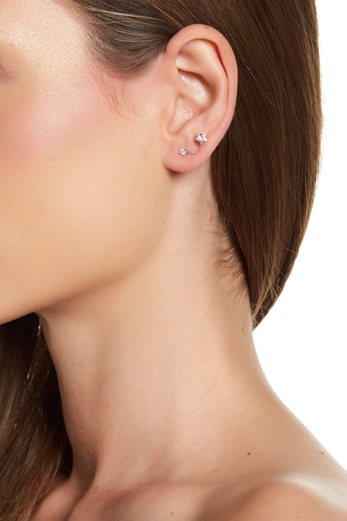 Image of Candela 14K White Gold CZ Shooting Star Stud Earrings