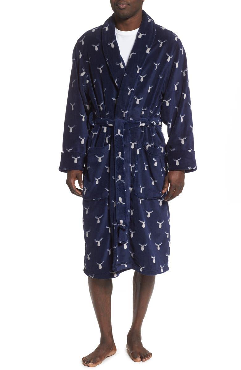 NORDSTROM MEN'S SHOP Moose Fleece Robe, Main, color, NAVY MOOSE