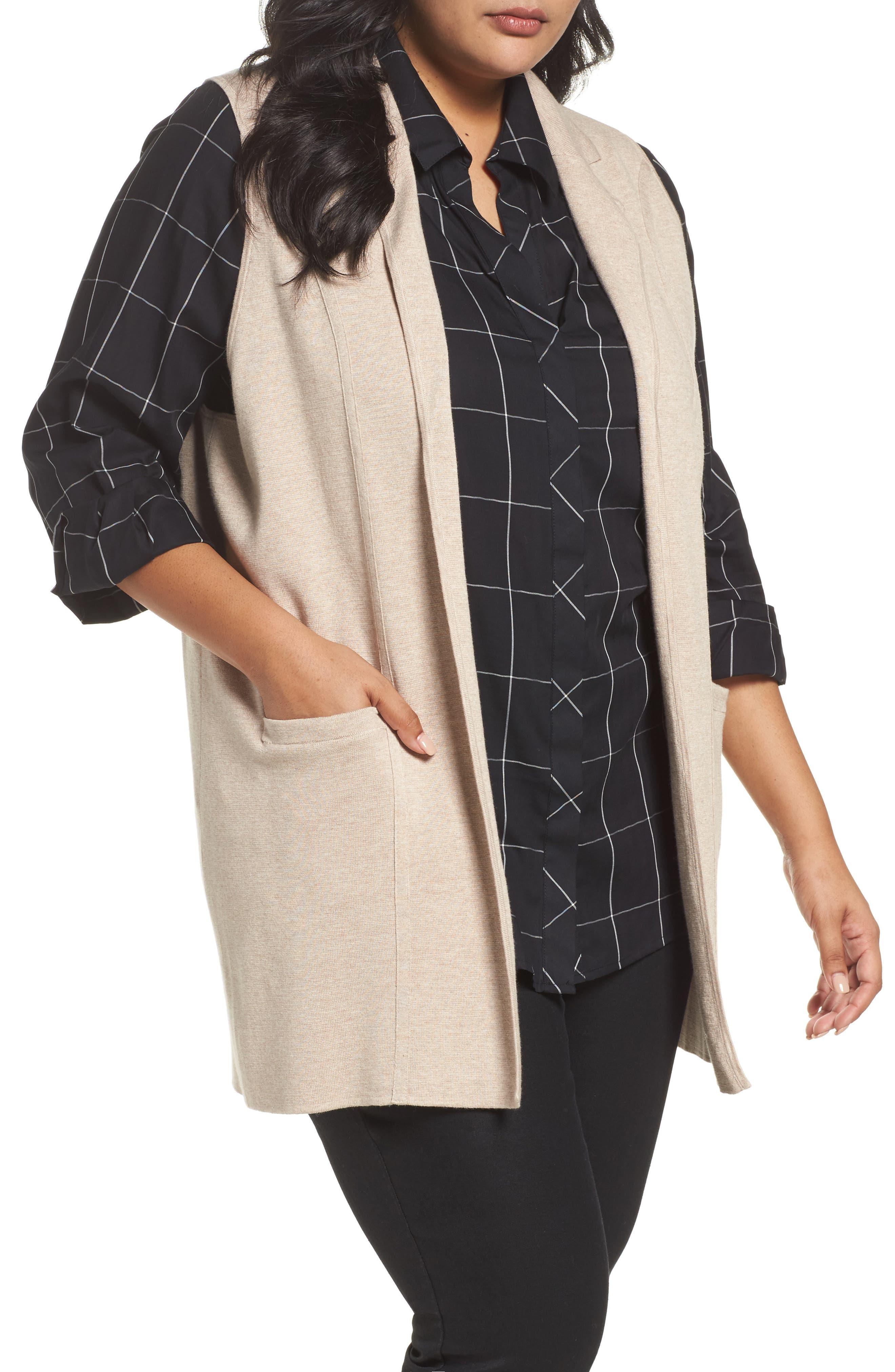 Vintage Sweaters: Cable Knit, Fair Isle Cardigans & Sweaters Plus Size Womens Foxcroft Jodi Longline Sweater Vest $96.00 AT vintagedancer.com