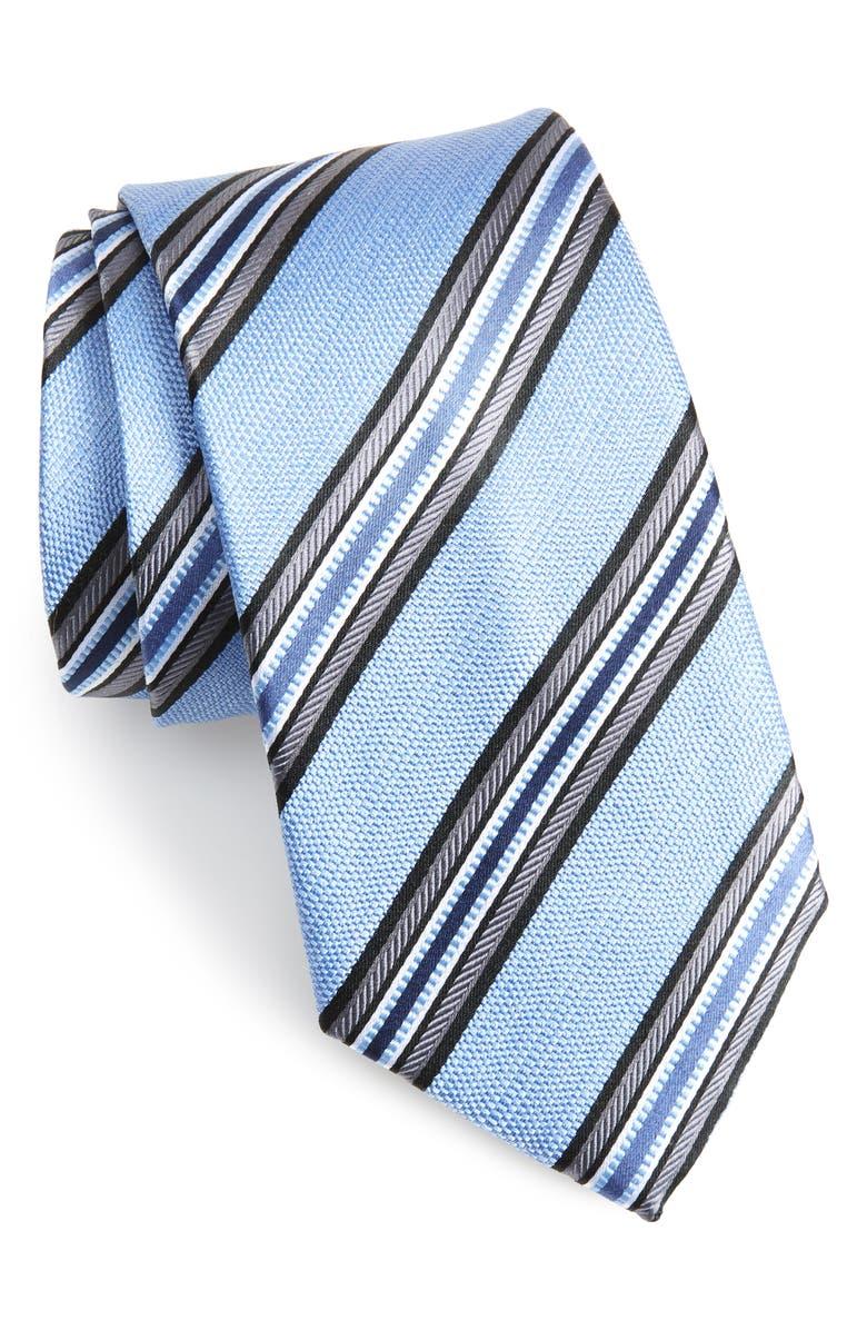 NORDSTROM MEN'S SHOP Stripe Silk Tie, Main, color, LT. BLUE